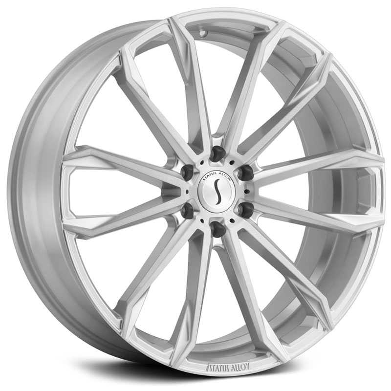22x9.5 Status Alloy S847 Mastadon 6 Silver w/ Brushed Machine Face MID