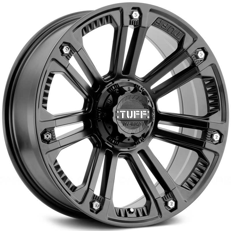 Tuff All Terrain T-22  Wheels Matte Black w/ Stainless Steel Bolts