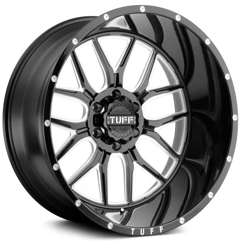 Tuff All Terrain T-23  Wheels Gloss Black w/ Milled Spokes & Dimples
