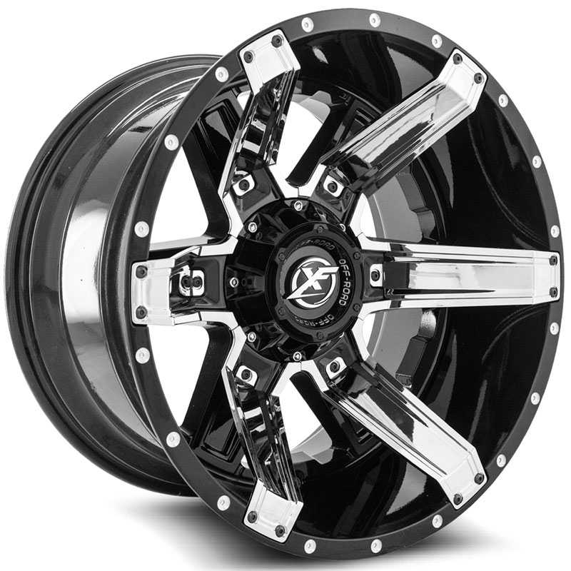 XF Offroad XF-214  Wheels Gloss Black w/ Chrome Inserts