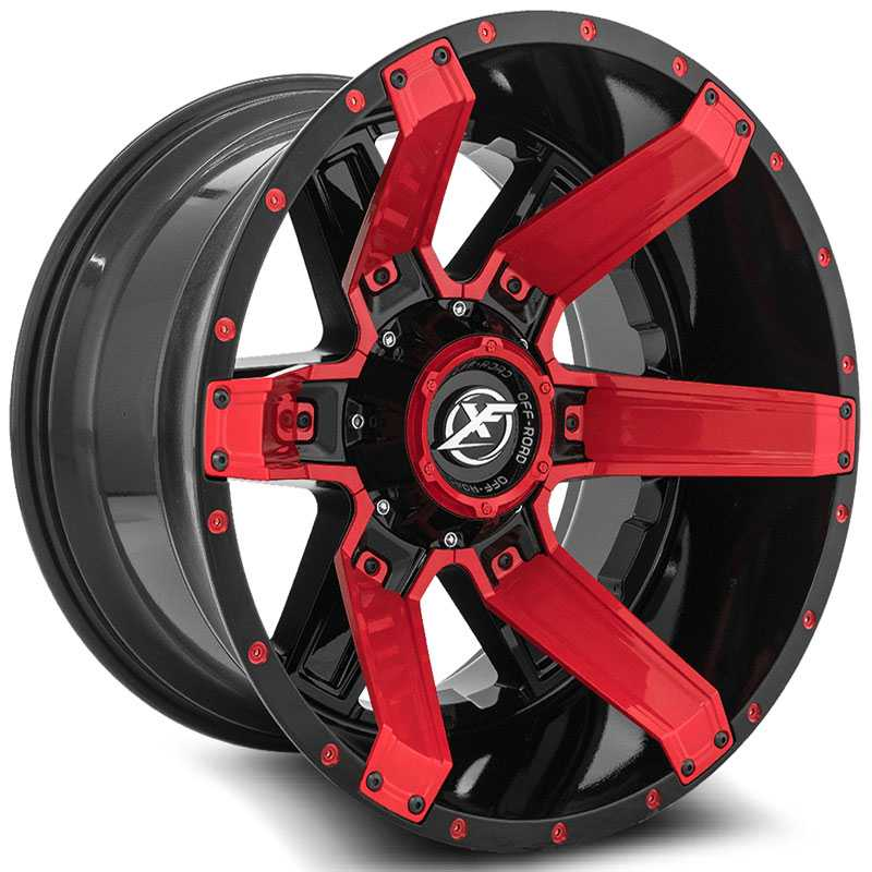 XF Offroad XF-214  Wheels Gloss Black w/ Red Inserts