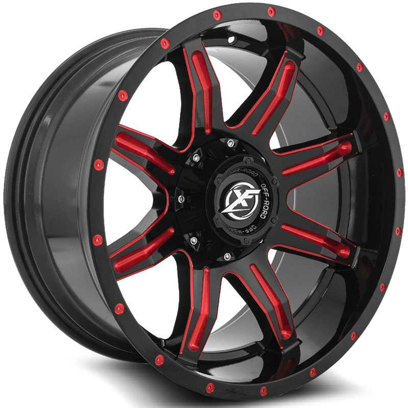 XF Offroad XF-215  Wheels Gloss Black w/ Red Milling
