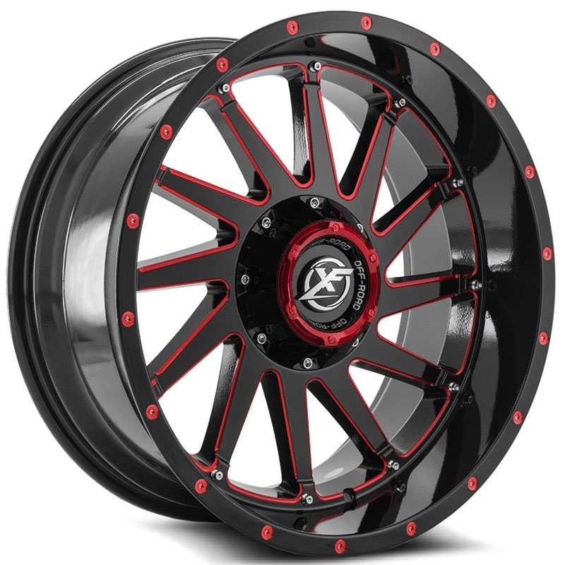 XF Offroad XF-216  Wheels Gloss Black w/ Red Milling