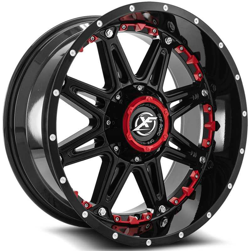 XF Offroad XF-217  Wheels Gloss Black w/ Red Milling