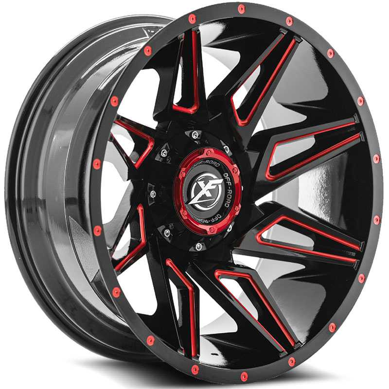XF Offroad XF-218  Wheels Gloss Black w/ Red Milling
