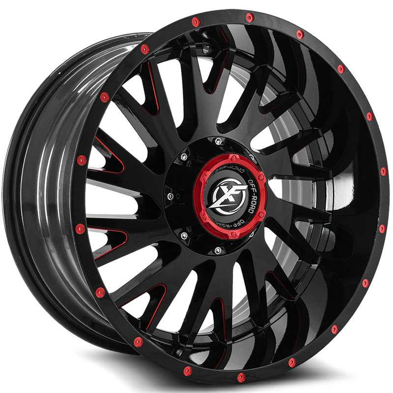 XF Offroad XF-221  Wheels Gloss Black w/ Red Milling