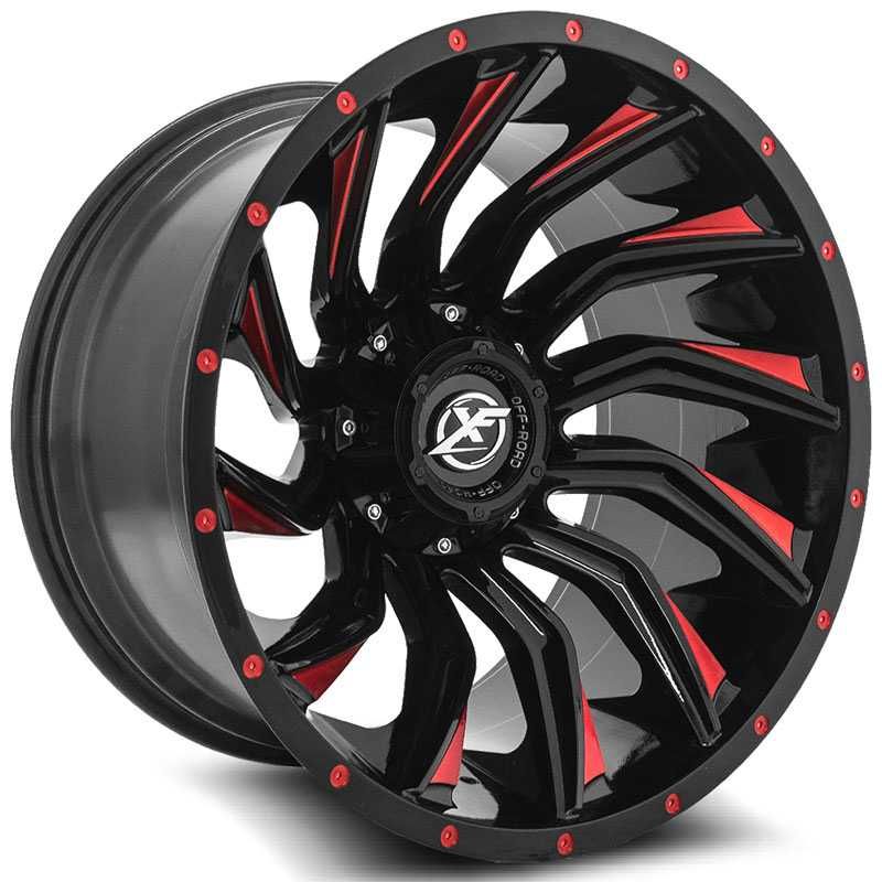 XF Offroad XF-224  Wheels Gloss Black Machined Red Line
