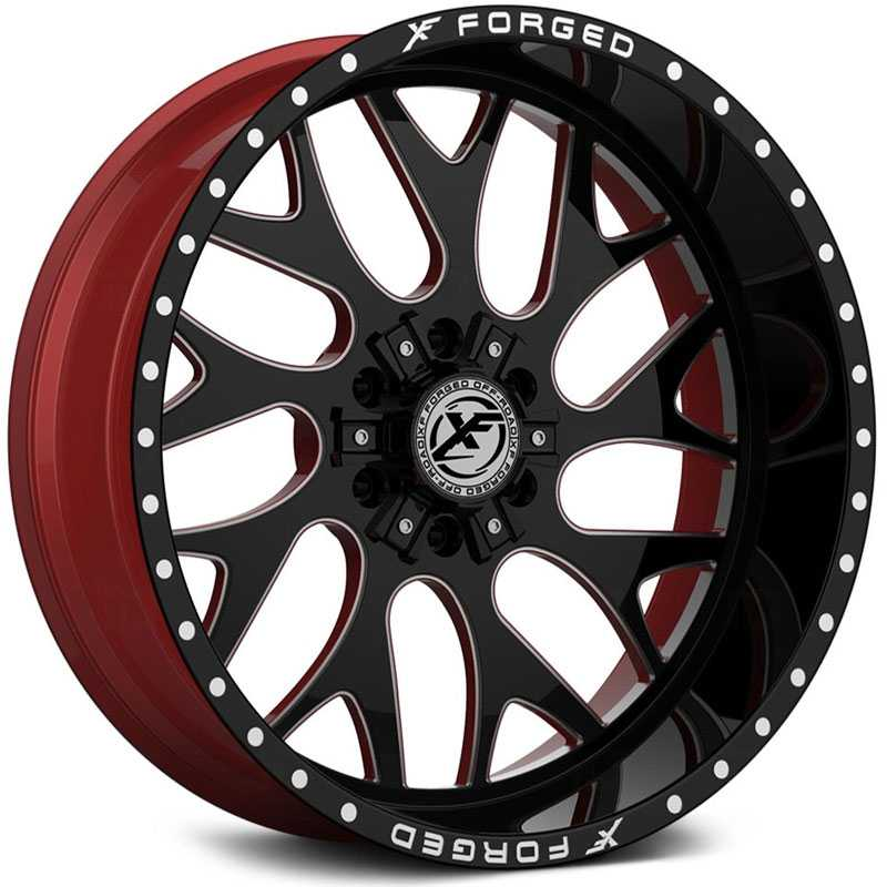 XF Offroad Forged XFX-301  Wheels Gloss Black Milled w/ Red Inner