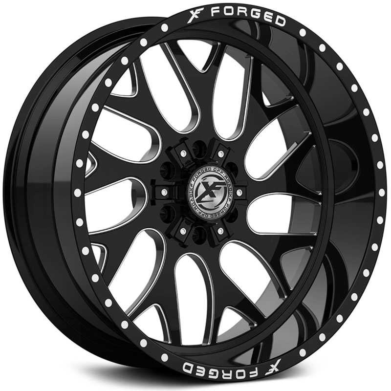 XF Offroad Forged XFX-301  Wheels Gloss Black Milled w/ Windows