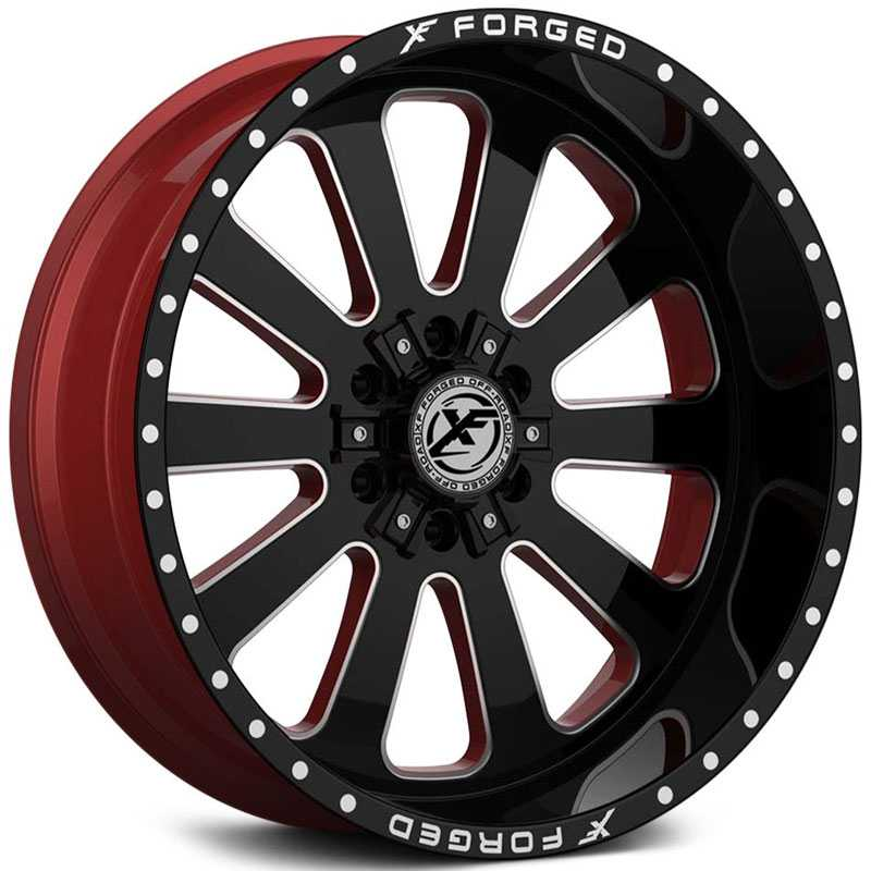 XF Offroad Forged XFX-302  Wheels Gloss Black Milled w/ Red Inner