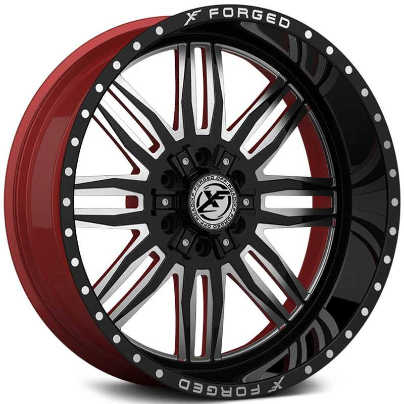 XF Offroad Forged XFX-303  Wheels Gloss Black Milled w/ Red Inner