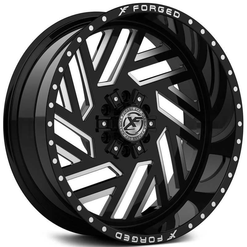 XF Offroad Forged XFX-304  Wheels Gloss Black Milled w/ Windows