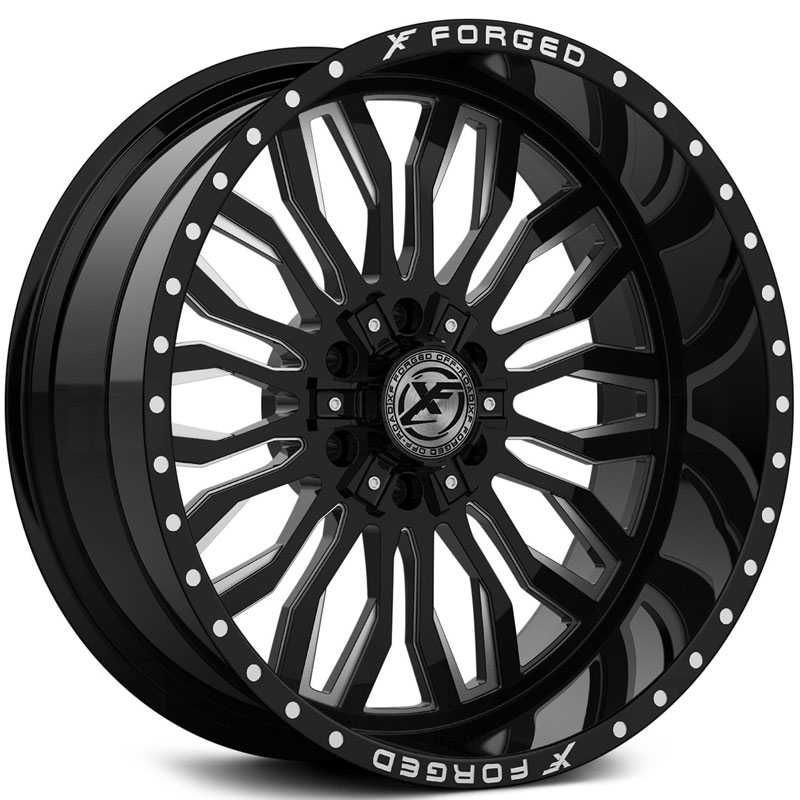 XF Offroad Forged XFX-305  Wheels Gloss Black Milled w/ Windows