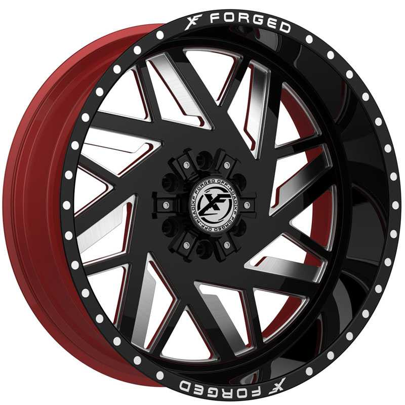 XF Offroad Forged XFX-306  Wheels Gloss Black Milled w/ Red Inner