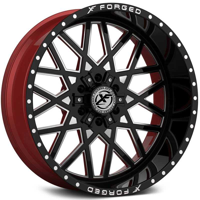 XF Offroad Forged XFX-307  Wheels Gloss Black Milled w/ Red Inner