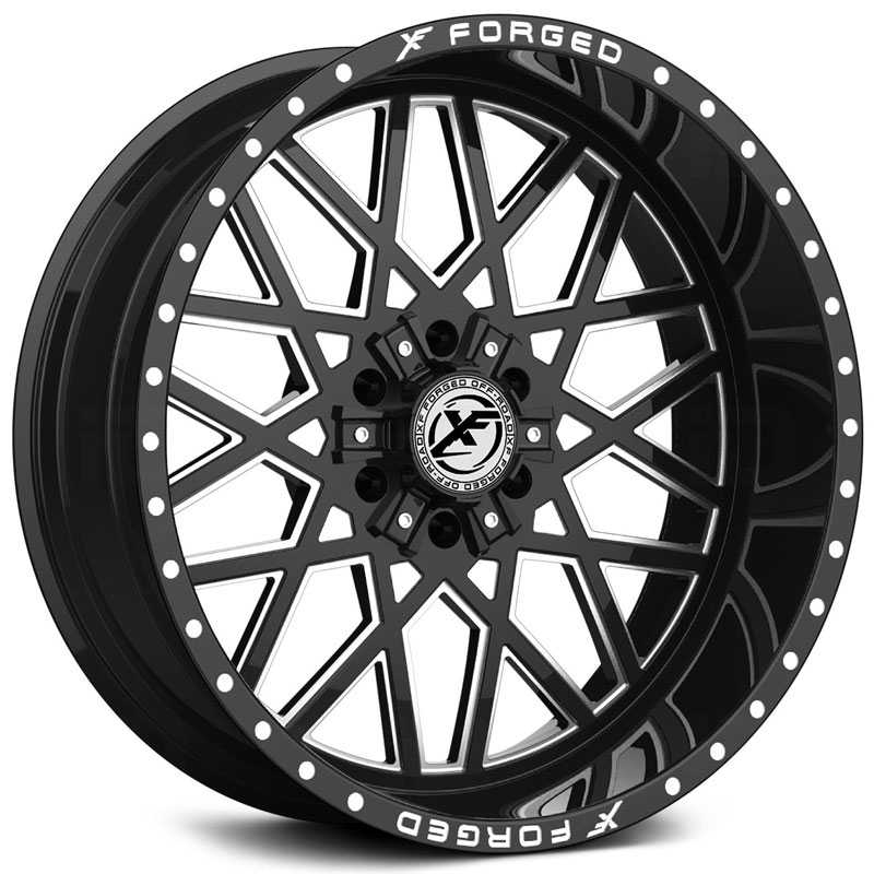 XF Offroad Forged XFX-307  Wheels Gloss Black Milled w/ Windows