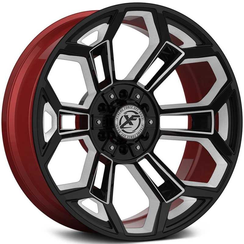 XF Offroad Forged XFX-308  Wheels Gloss Black Milled w/ Red Inner