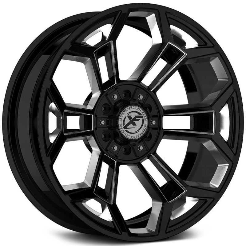 XF Offroad Forged XFX-308  Wheels Gloss Black Milled w/ Windows