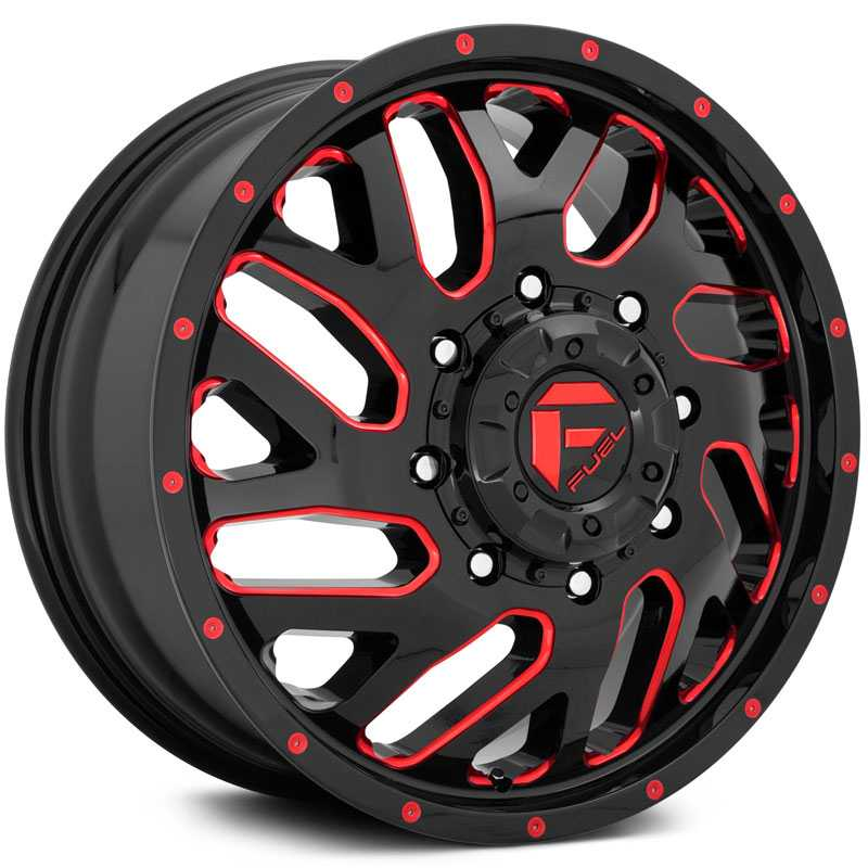 Fuel D656 Triton  Wheels Gloss Black Red Tinted Clear
