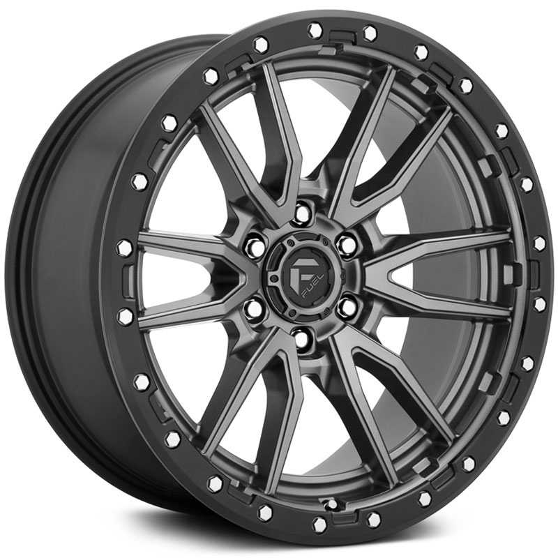 Fuel D680 Rebel  Wheels Matte Gunmetal Black Bead Ring