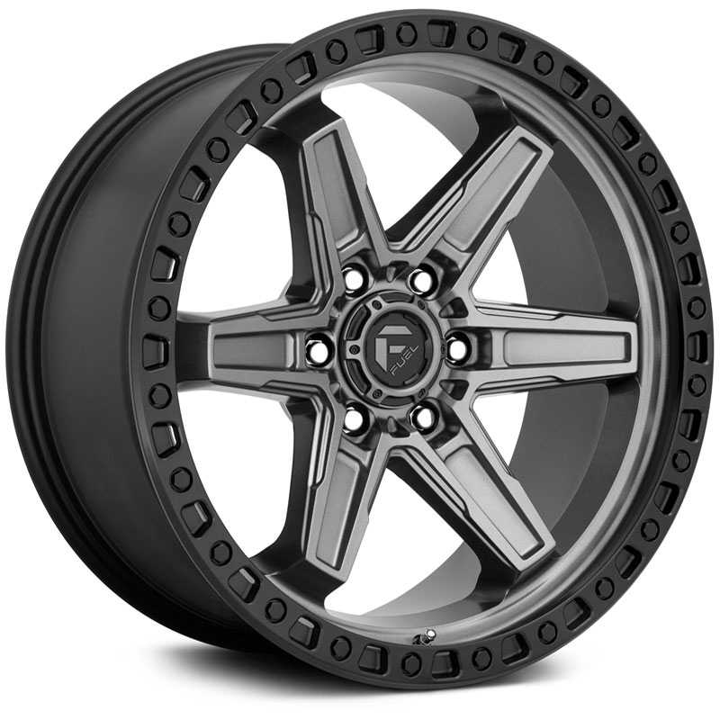 Fuel D698 Kicker  Wheels Matte Gunmetal Black Bead Ring