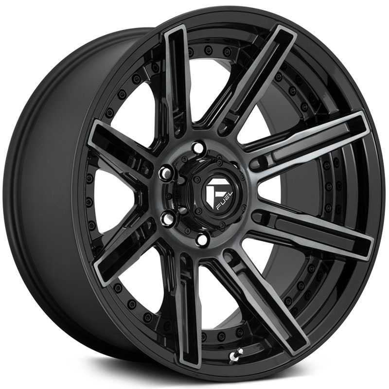 Fuel D708 Rogue  Wheels Gloss Machined Double Dark Tint