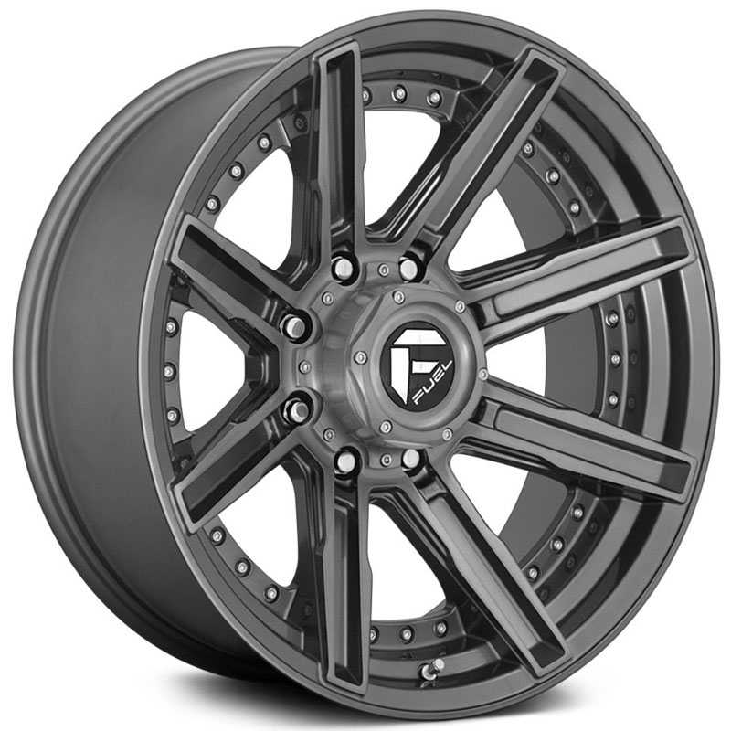 Fuel D710 Rogue  Wheels Brushed Gunmetal Tinted Clear
