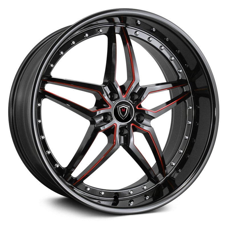 22x9 Marquee Luxury M5331 Gloss Black Red Milled MID