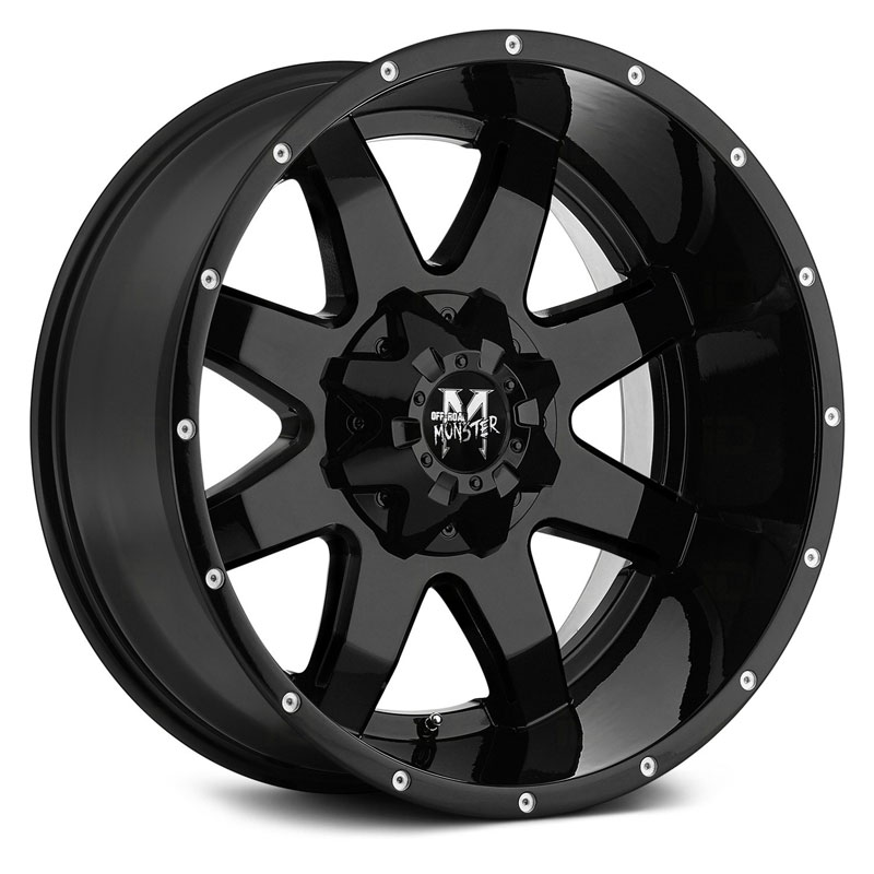 18x9 Off-Road Monster M08 Gloss Black RWD