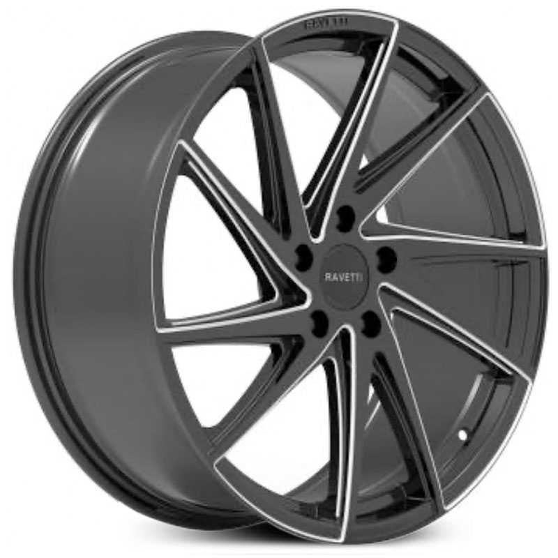 Ravetti M10  Wheels Gloss Black Machined