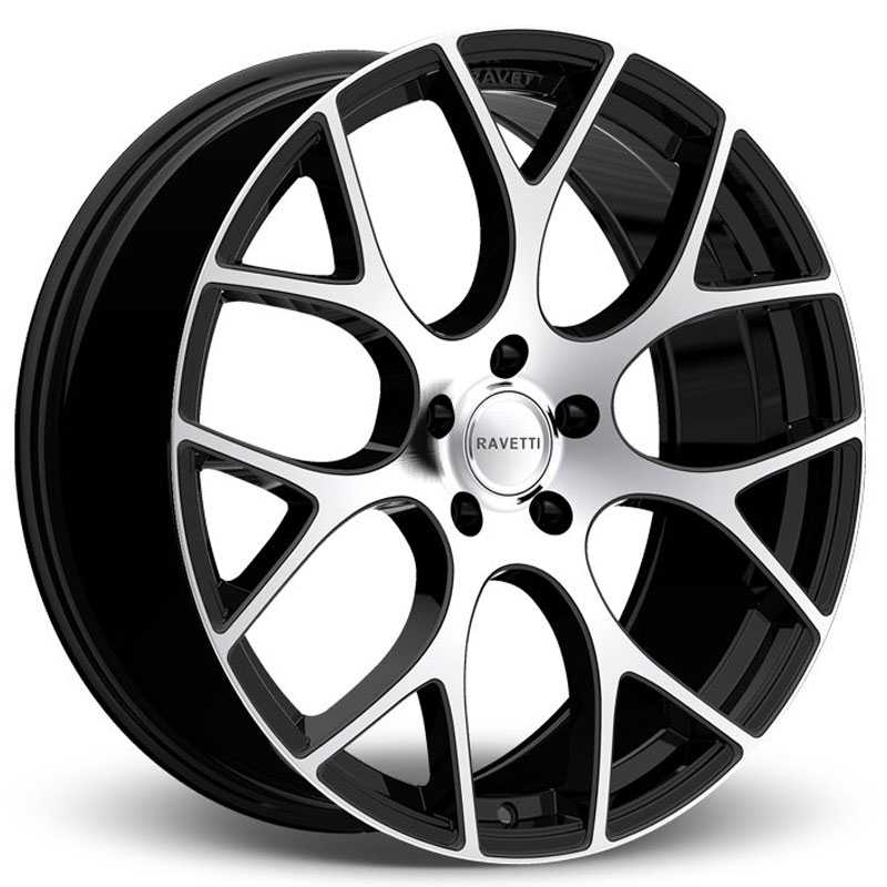 Ravetti M8  Wheels Satin Black w/ Machined Face