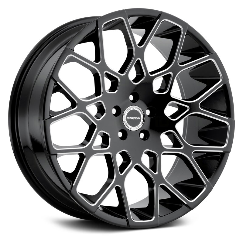 22x9.5 Strada Buca Gloss Black Milled RWD