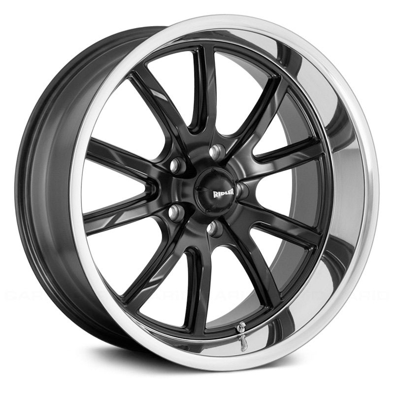 Ridler Style 650  Wheels Matte Black w/ Polished Lip
